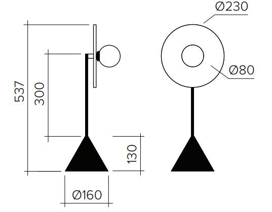 ARETI/Disc and Sphereテーブルライト