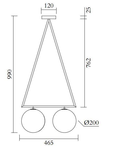 ARETI/Dreiecksrotation  2 globesシーリングライト