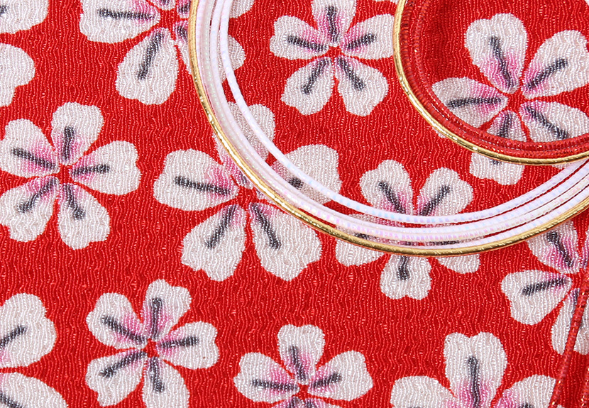 ご祝儀袋 結姫 musubime 青竹(ポリエステル)赤桃小紋