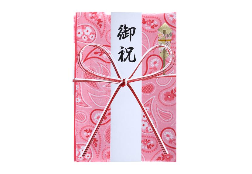 ご祝儀袋 結姫 musubime 白梅(コットン)ペイズリー(赤) 蝶
