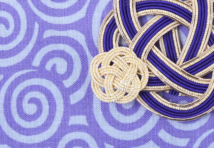ご祝儀袋 結姫 musubime 白梅(コットン)渦巻(紫)