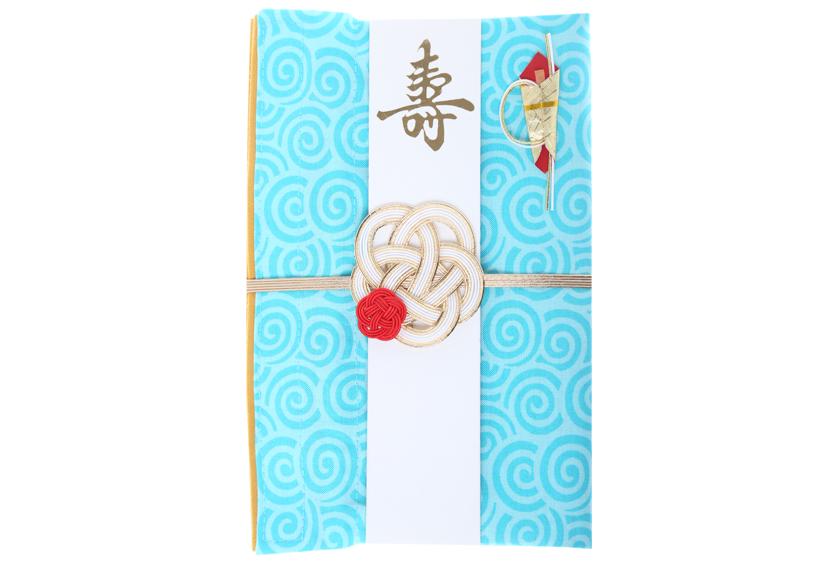 ご祝儀袋 結姫 musubime 白梅(コットン)渦巻(水色)
