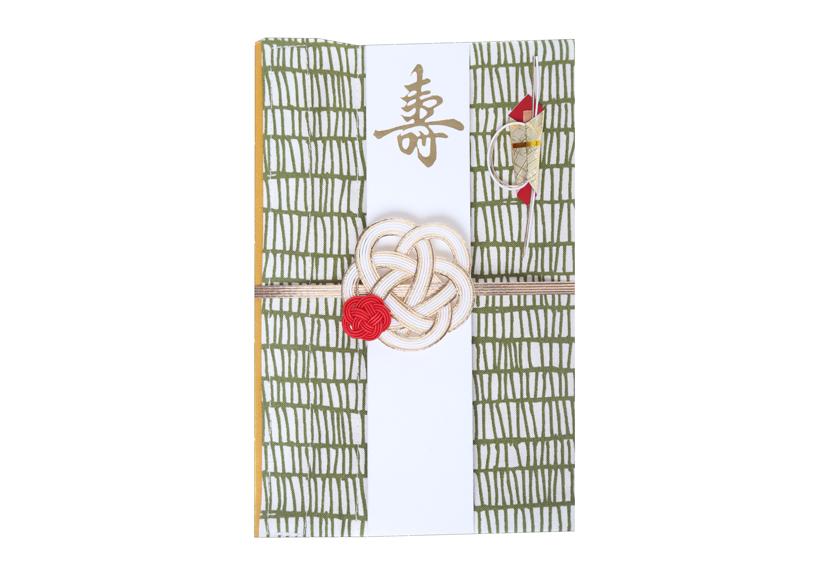 ご祝儀袋 結姫 musubime 白梅(コットン)格子(緑)
