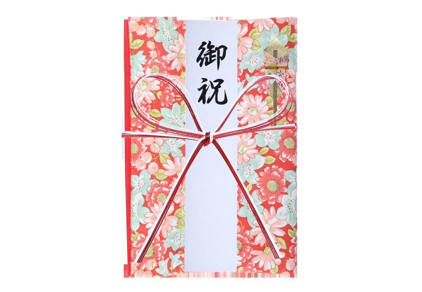 ご祝儀袋 結姫 musubime 白梅(コットン)弥栄(赤) 蝶