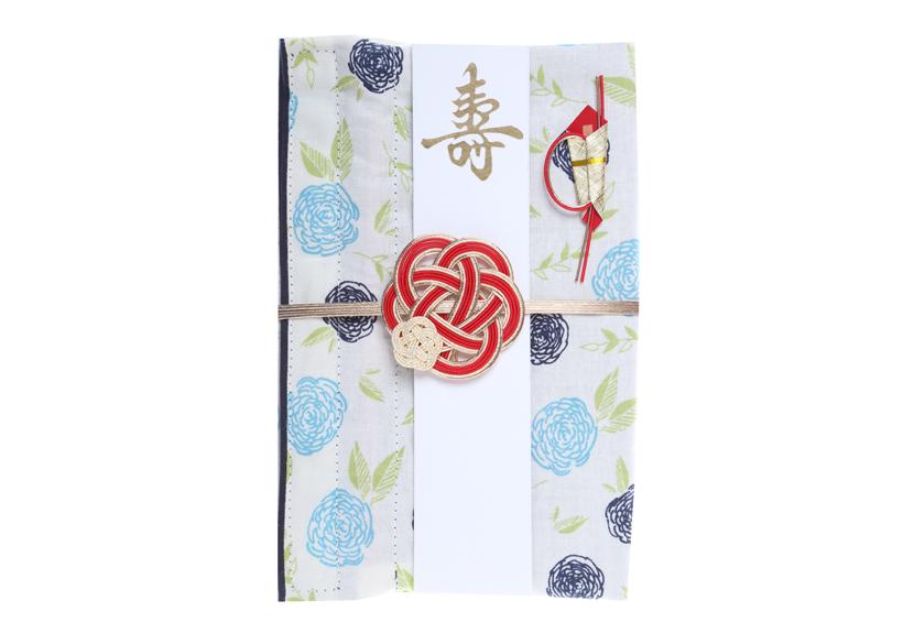 ご祝儀袋 結姫 musubime 白梅(コットン)花咲(青)
