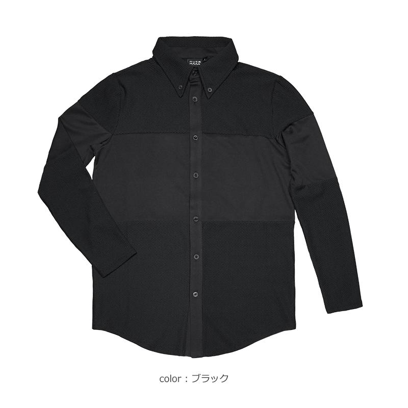 ストレッチメッシュ 切替ラインシャツ【全4色】