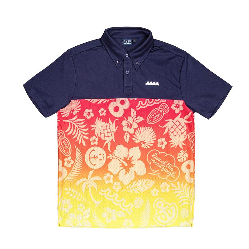 ストレッチメッシュ 切替ポロシャツ【ネイビー/ALOHA】
