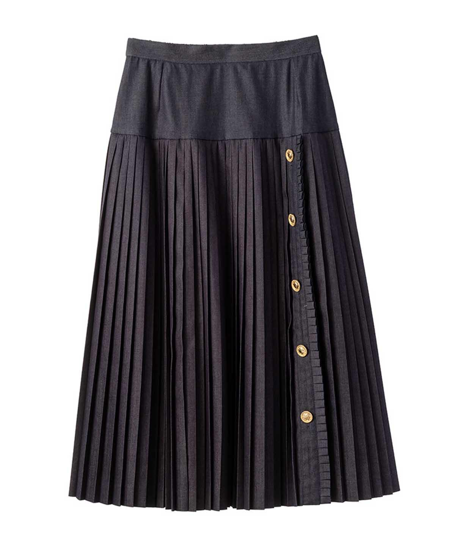 コインボタンデニムスカート