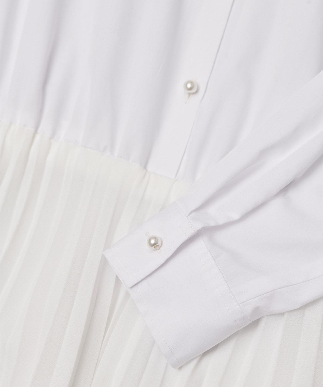 付け衿付プリーツシャツワンピース