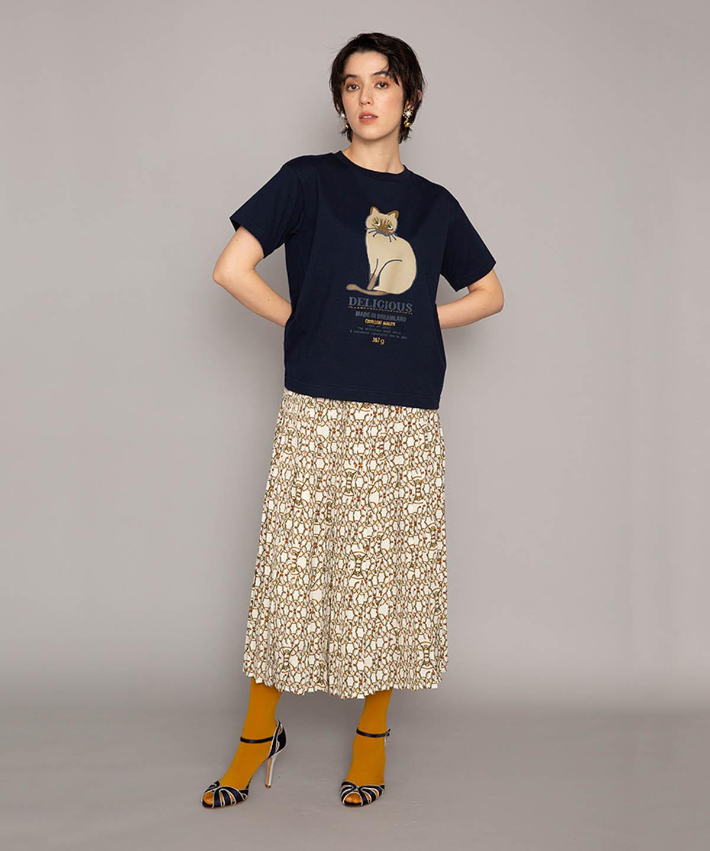 クロスピンプリントスカート