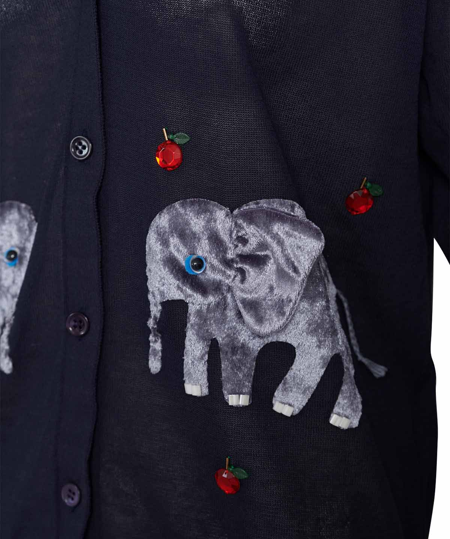 ゾウ刺繍カーディガン