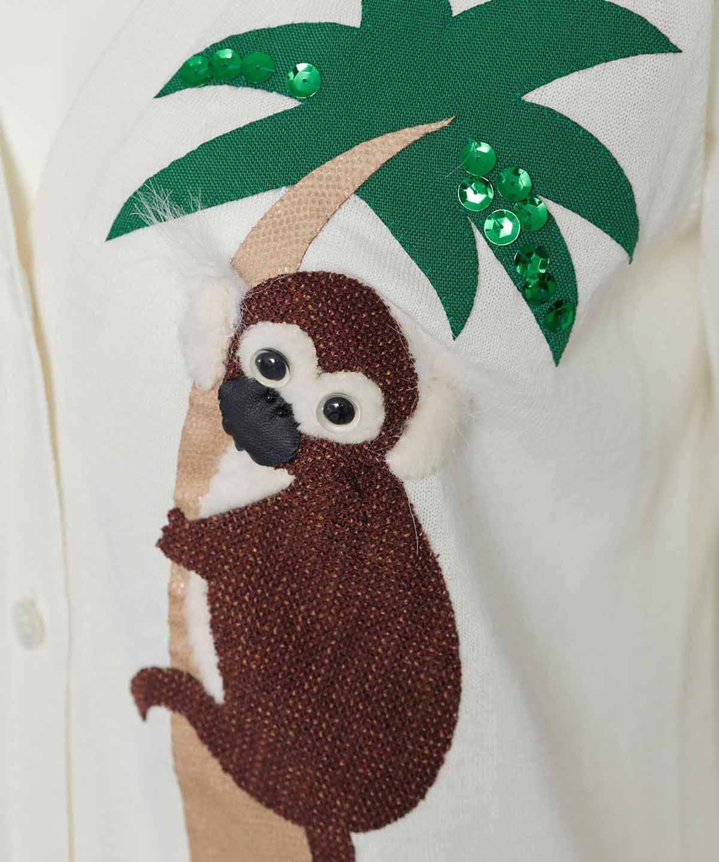 サル刺繍カーディガン
