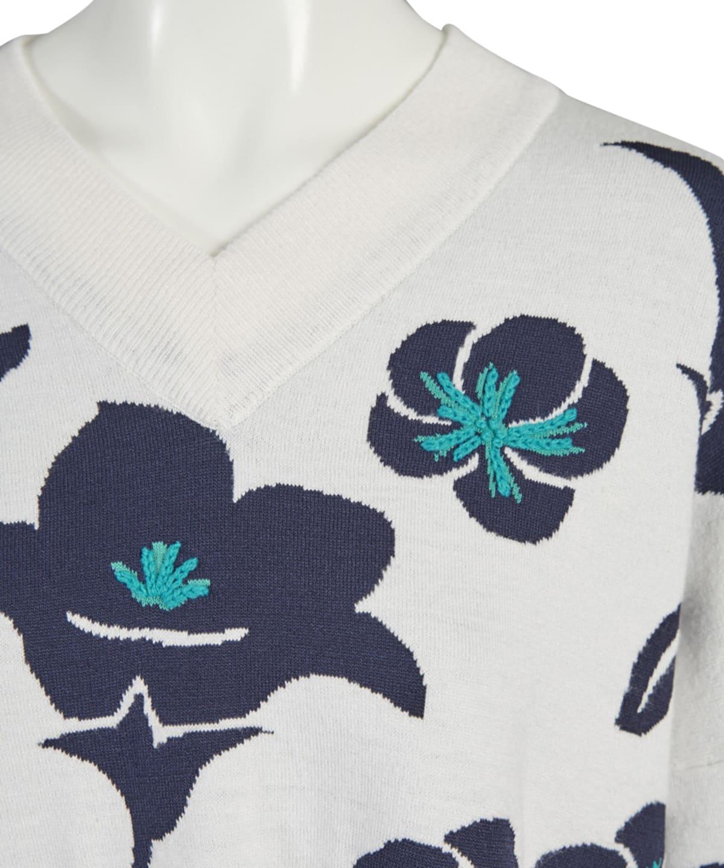 花柄ニットプルオーバー