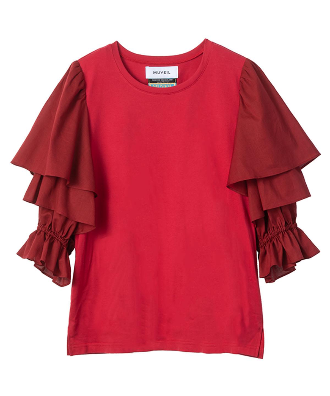 CPフリルスリーブTシャツ