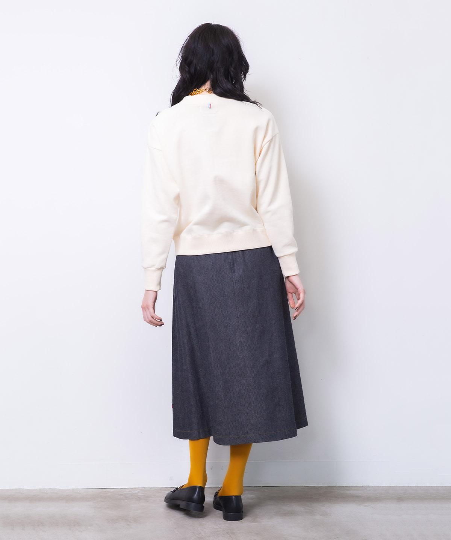 リンゴ刺繍デニムスカート