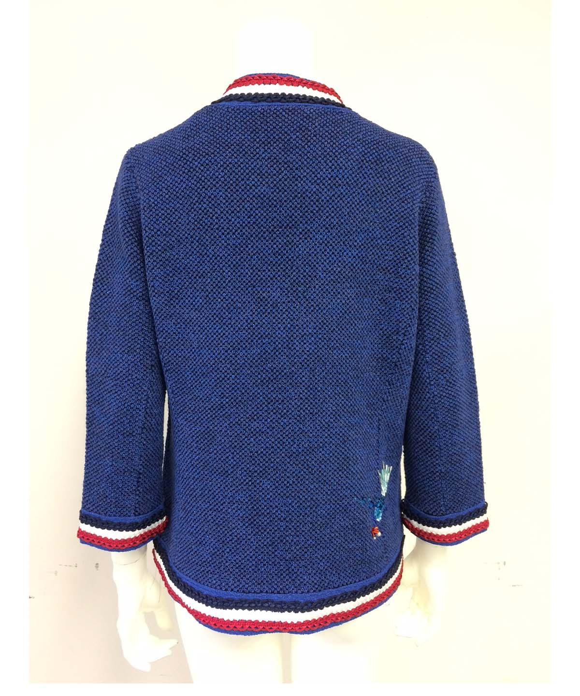 魚モチーフ刺繍ニットジャケット
