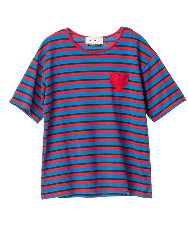 ボーダーハートパッチTシャツ