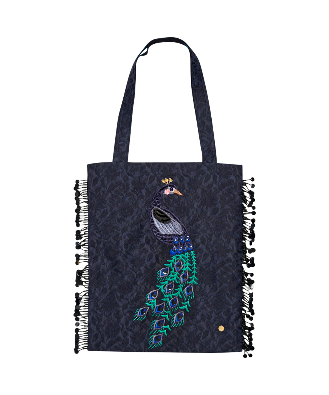 クジャク刺繍バッグ