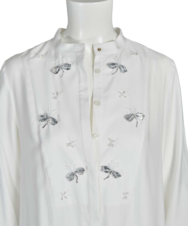 刺繍入りシャツワンピース