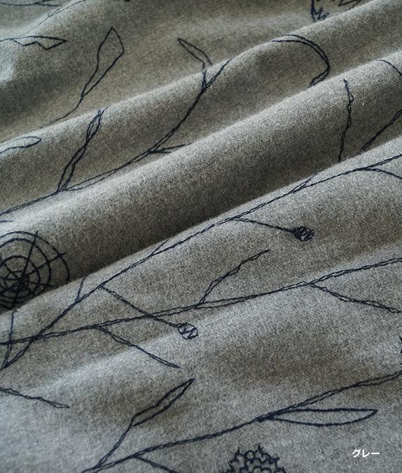 野花とトンボ刺繍ワンピース