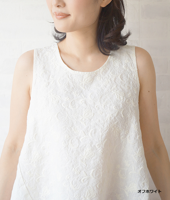 【SALE50%OFF】リネン草花刺繍ベスト
