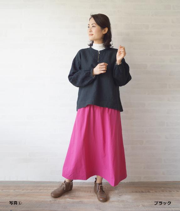 【SALE50%OFF】リネン草花刺繍ブラウス