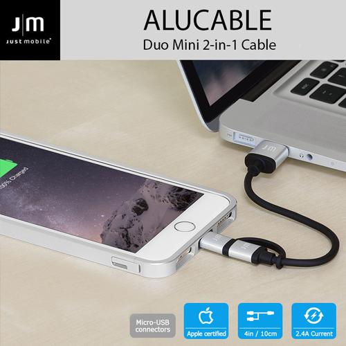 MFi認証 ライトニング&micro-USB 変換ケーブル Just Mobile AluCable Duo mini(ジャストモバイル アルケーブルデュオミニ)10cm 2in1タイプ アルミ製 充電 データ転送対応