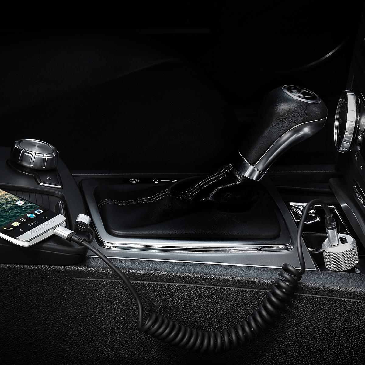 MFi認証 ライトニング&micro-USB 変換ケーブル Just Mobile AluCable Duo Twist(ジャストモバイル アルケーブルツイスト)1.8M 2in1タイプ アルミ製 コイルケーブル 充電 データ転送対応