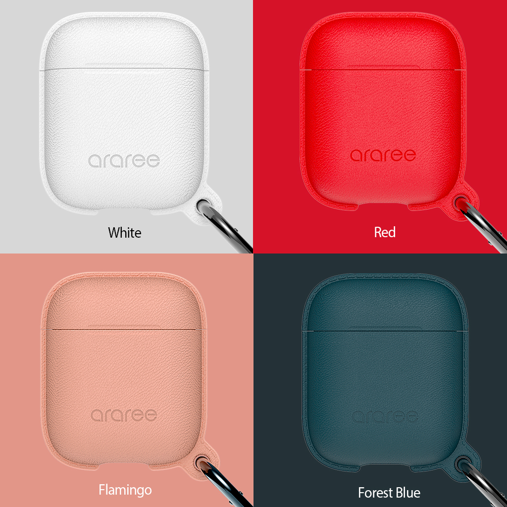 AirPods カラビナ付きケース araree AirPods Case POPS(エアーポッズケース ポップス)airpods カバー 耐衝撃保護 ソフト シリコン素材 革風 Apple AirPods2 第2世代 収納可能 ワイヤレス充電対応