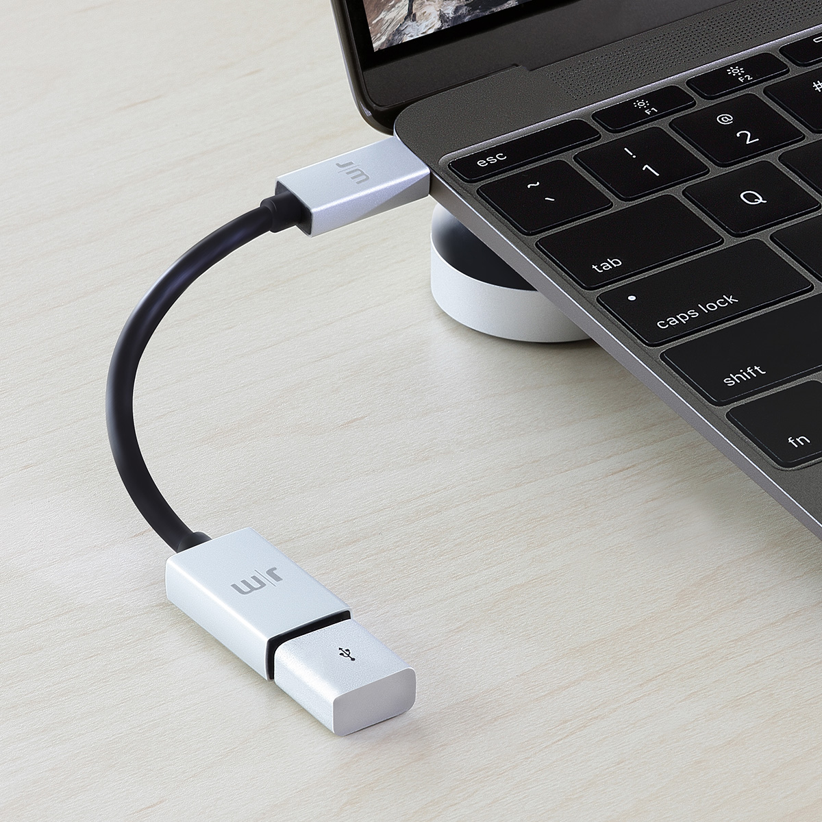 Type-C USB 変換アダプター Just Mobile AluCable USB-C 3.1 to USB Adapter(ジャストモバイル アルケーブル)高速充電 データ転送対応