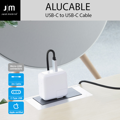 USB 2.0 Type-C ケーブル Just Mobile AluCable USB-C to USB-C Cable(ジャストモバイル アルケーブル)2M 高速充電 データ転送対応