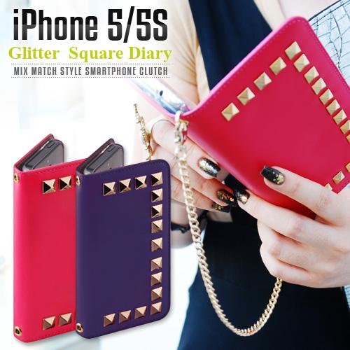iPhone SE/5/5s ケース GAZE Glitter Square Diary(ゲイズ グリッタースクエアダイアリー)アイフォン 本革
