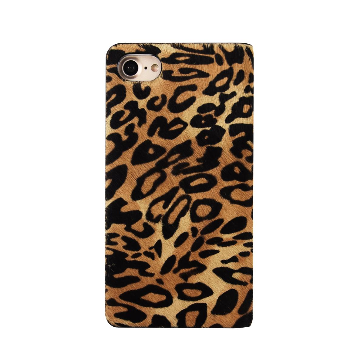 iPhone SE 第2世代 se2 ケース iPhone 8/7ケース 手帳型 GAZE Leopard Calf Hair Diary(ゲイズ レオパードカーフダイアリー)アイフォン 本革 カバー