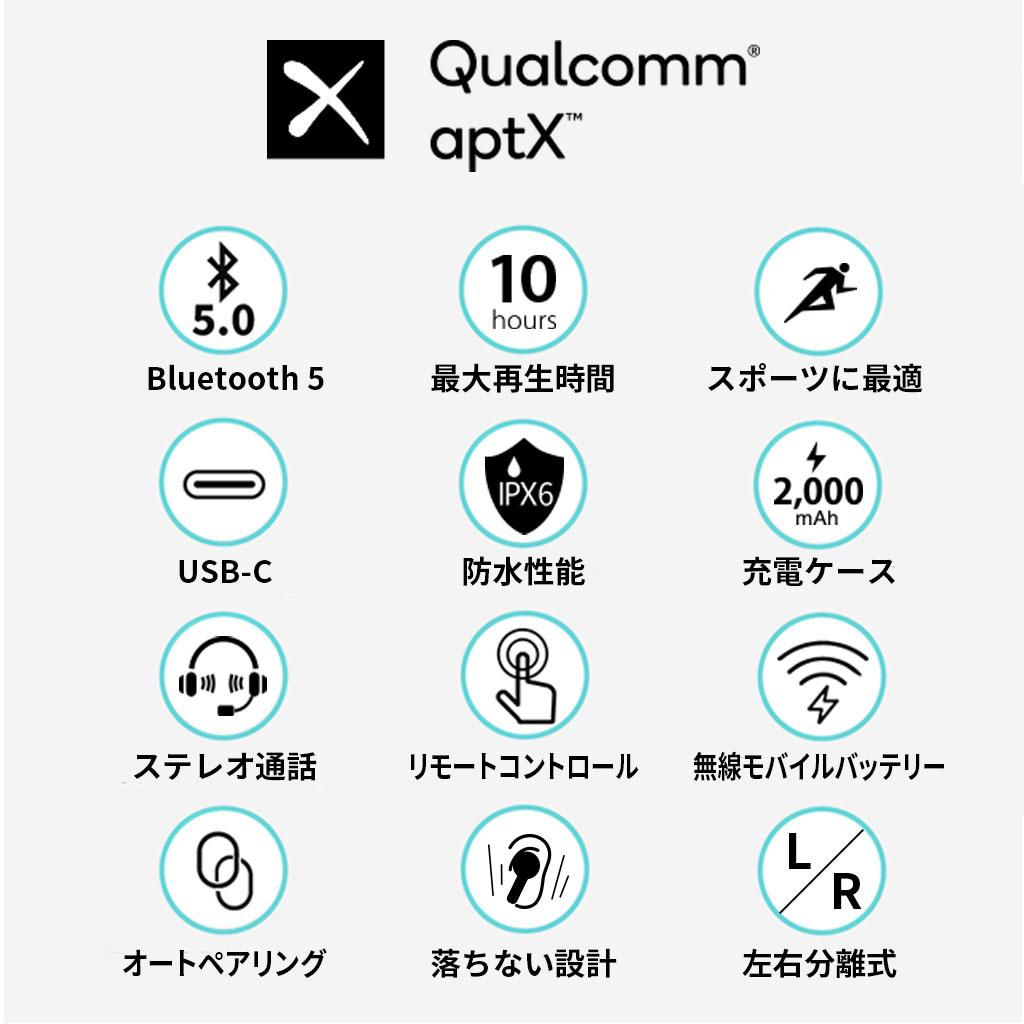 完全ワイヤレスイヤホン Padmate PaMu Slide【QCC3020搭載/IPX6防水】 テレワーク 在宅勤務