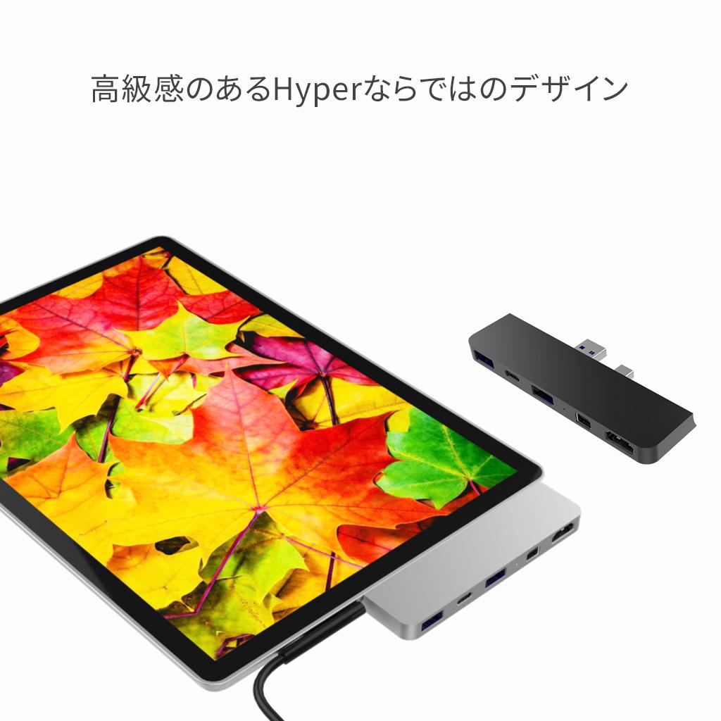 HyperDrive Surface Pro(4/5/6)専用 5in2 Hub (ハブ) 5ポート 4K高画質 持ち運びに便利 PD機能 HDMI変換アダプター USB-C ポート 4K HDMI Mini Displayポート 2×USB-A 3.0 最新Surface対応 拡張 HYPER++  テレワーク 在宅勤務