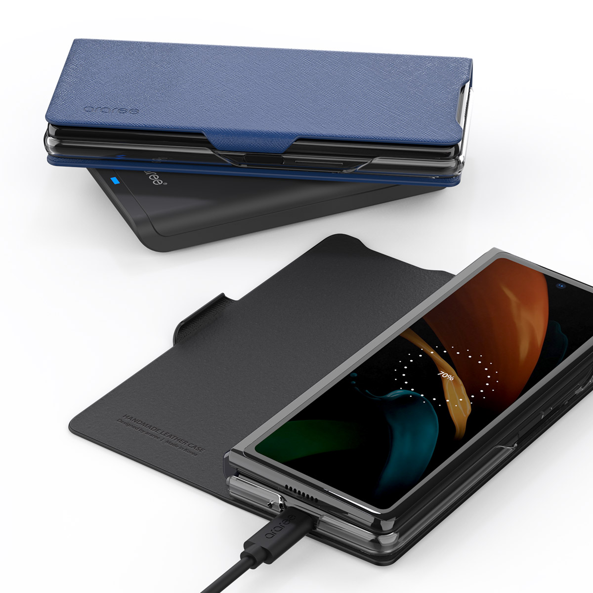 araree BONNET STAND【Galaxy Z Fold2 5G 手帳型ケース】マグネットクロージング スタンド機能付き SCG05