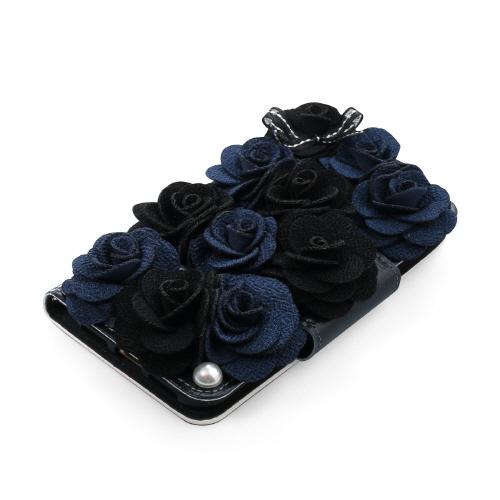 iPhone SE 第2世代 se2 ケース iPhone 8/7ケース 手帳型 Mr.H Bella Rosette Diary ブラック(ミスターエイチ ベラロゼッタ ダイアリー)アイフォン カバー 花柄 フラワー