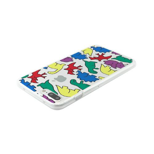 iPhone 8 Plus / 7 Plus ケース Dparks ソフトクリアケース カラフルザウルス (ディーパークス) アイフォン カバー バータイプ