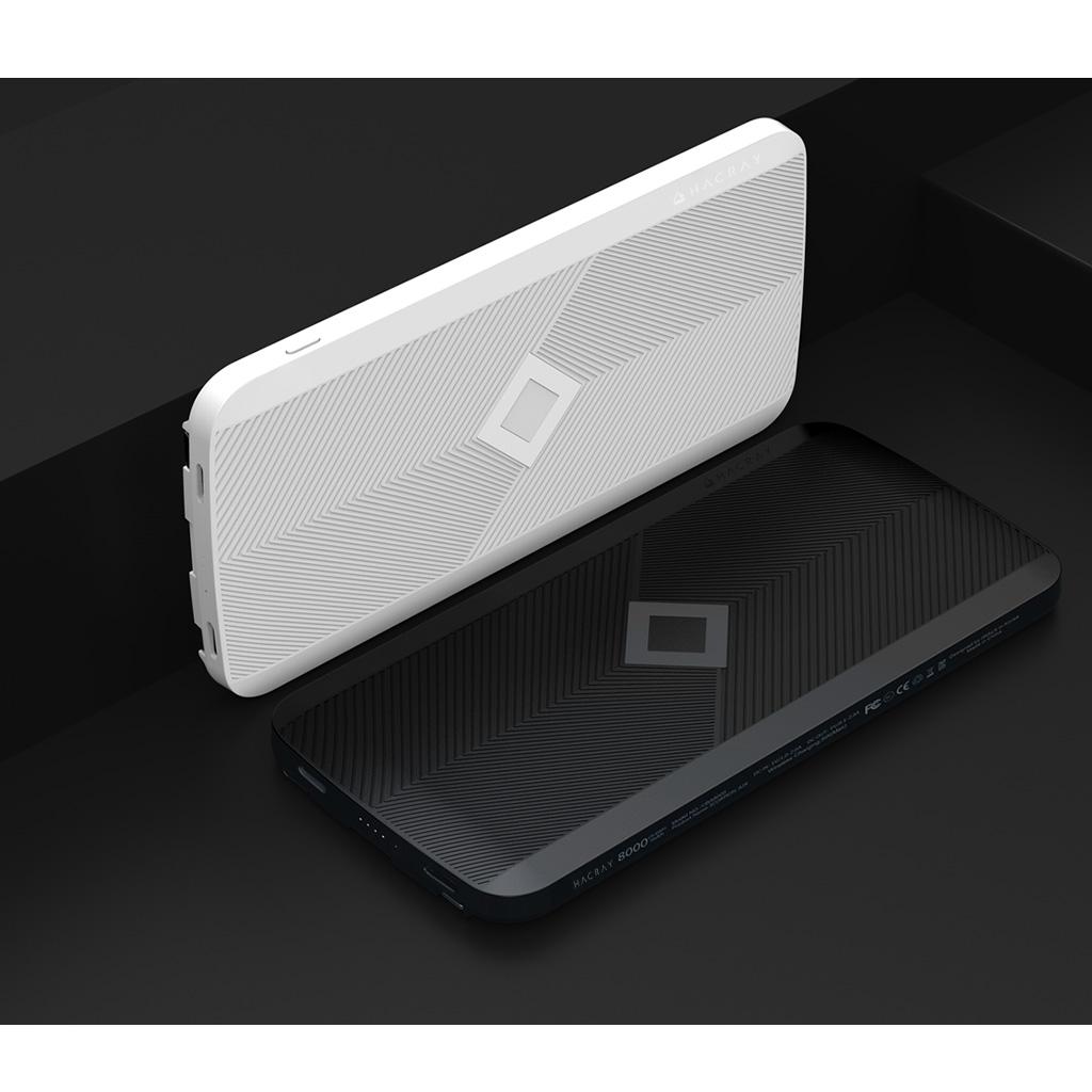 ワイヤレス充電器 モバイルバッテリー HACRAY ケーブル内蔵型 4in1 マルチ充電ケーブル付き 8000mAh Qi対応 置くだけで充電できる 携帯充電器 スマホ充電器 Type-C ライトニング Micro USB ケーブル付き
