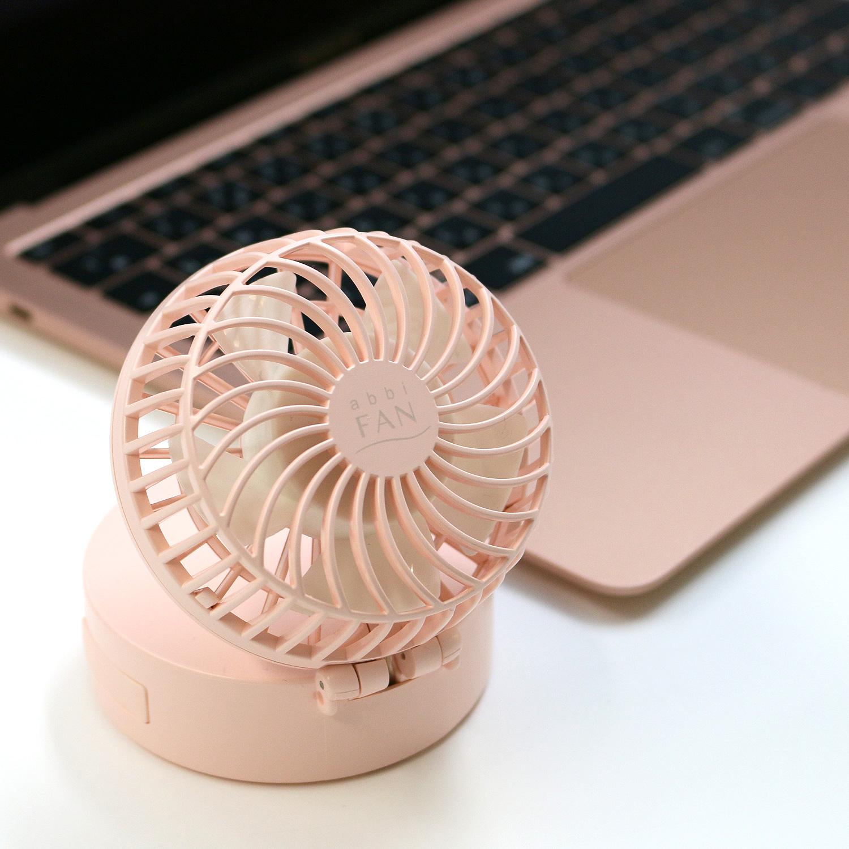 abbi Fan ハンズフリー ポータブル扇風機 ミラー付き 携帯扇風機 最大14時間使用 モバイル扇風機 ミニ扇風機 卓上