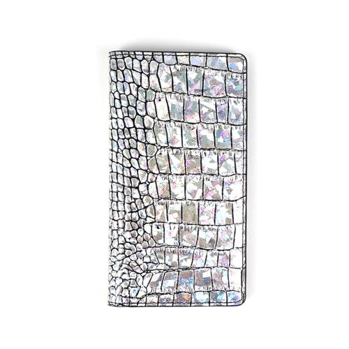 スマホケース 本革 手帳型 スライド式 多機種対応マルチケース Gaze Hologram Croco Diary(ゲイズ ホログラムダイアリー)Mサイズ Lサイズ 5〜5.5インチまで 縦15cm×幅7.5cmまでのスマホ 縦16cm×幅8cmまでのスマホ