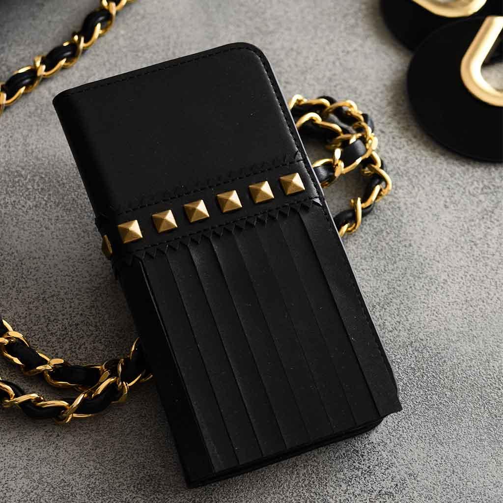 iPhone SE 第2世代 se2 ケース iPhone 8/7ケース 手帳型 abbi ブラックフリンジダイアリー(アビィ)アイフォン 本革 カバー
