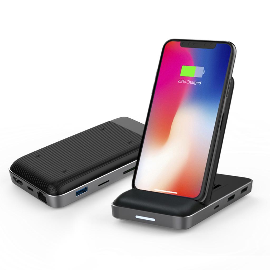 USB-Cハブ ワイヤレス充電器 可変式スタンド付き Hyper Drive 8in1 USB-C Hub + Qi Wireless Charger Stand(ハイパードライブ)Qi対応 置くだけで急速充電 HYPER++ ハイパードライブ マルチハブ テレワーク 在宅勤務