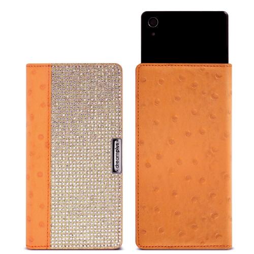 スマホケ−ス 手帳型 多機種対応 マルチケース DreamPlus Wannabe Leather Diary(ドリームプラス ワナビー レザーダイアリー)本革 ラインストーン