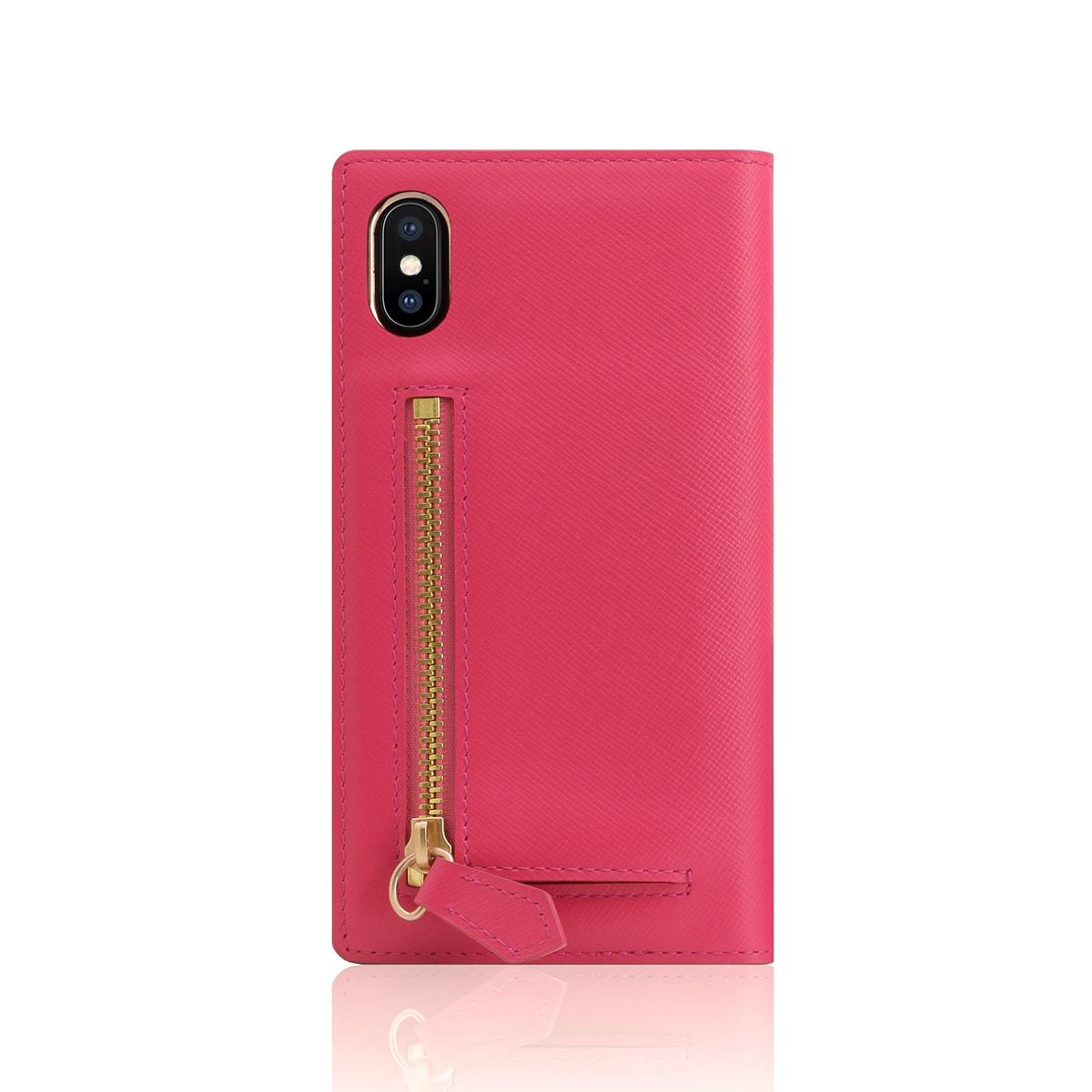 iPhone XS / X ケース SLG Design Saffiano Zipper Case 手帳型 本革(エスエルジー サフィアーノジッパーケース)アイフォン カバー レザー