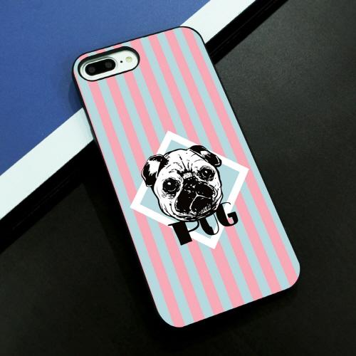 iPhone 8 Plus / 7 Plus ケース Dparks ブラックケース ストライプ パグ(ディーパークス)アイフォン カバー イヌ