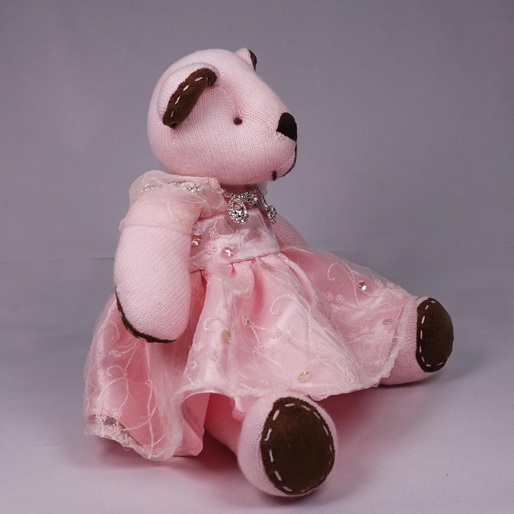 高級カシミヤ製のアーティストベア。ピンクのステージ衣装を着たローズ・キッドベア【24cm】(#31)