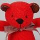 高級カシミヤ製テディベア。日の丸色のレッド・キッドベア【24cm】
