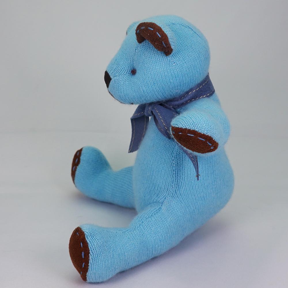 高級カシミヤ製テディベア。NYブルー色のティファニー・キッドベア【24cm】