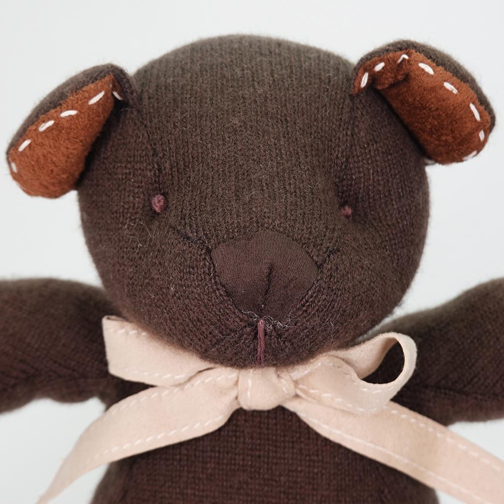 高級カシミヤ製テディベア。ビターチョコレート色のチョコ・パパベア【30cm】